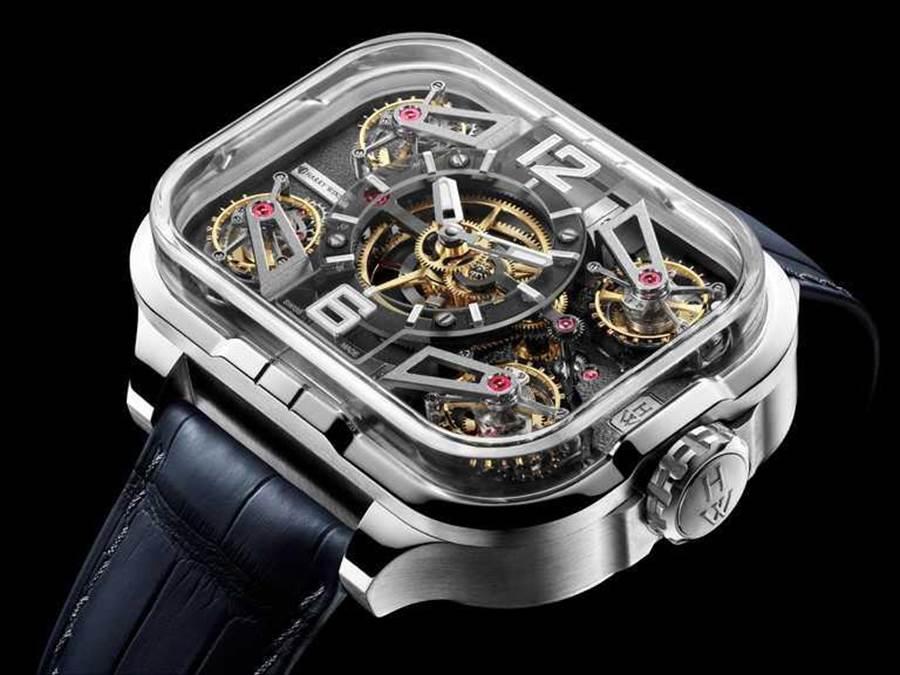 HARRY WINSTON「Histoire de Tourbillon史诗陀飞轮系列」10号腕表,18K玫瑰金表壳,45mm,95颗宝石╱26,000,000元。(图╱HARRY WINSTON提供)
