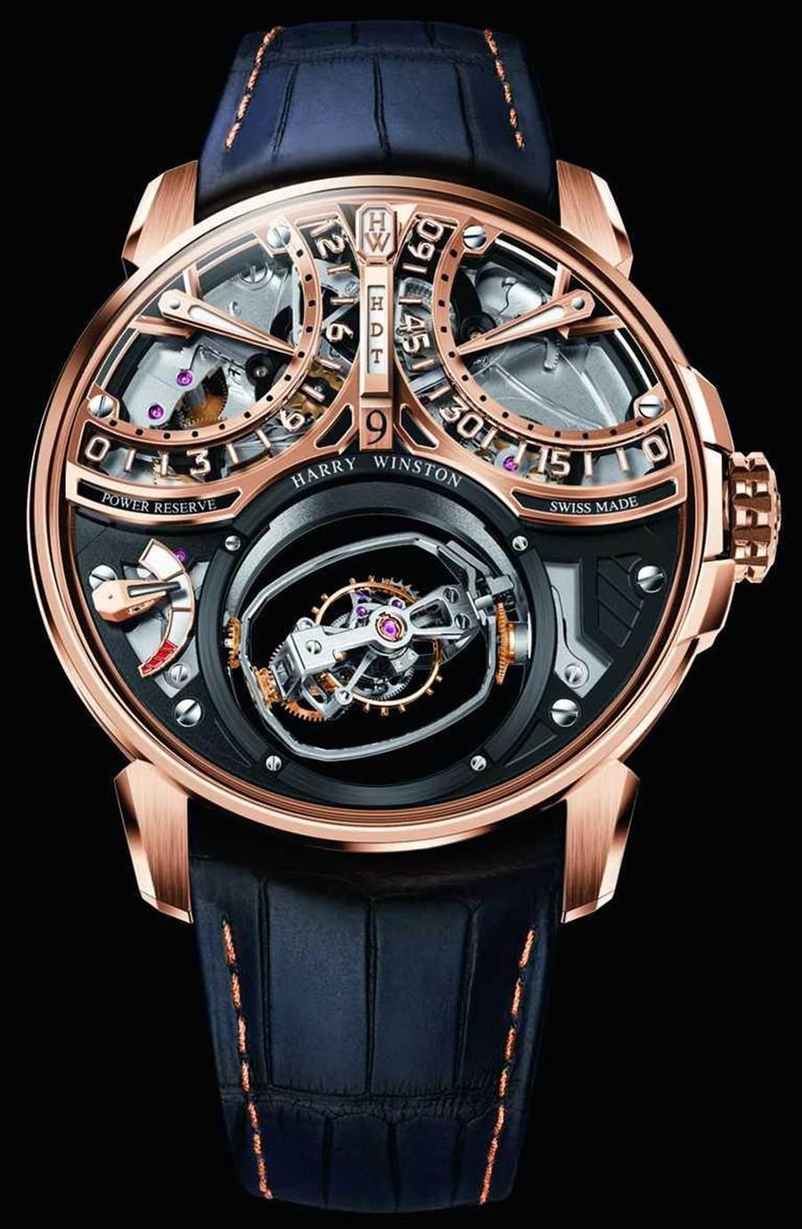 HARRY WINSTON「Histoire de Tourbillon史诗陀飞轮系列」9号腕表,18K玫瑰金表壳,46.5mm,58颗宝石╱20,420,000元。(图╱HARRY WINSTON提供)