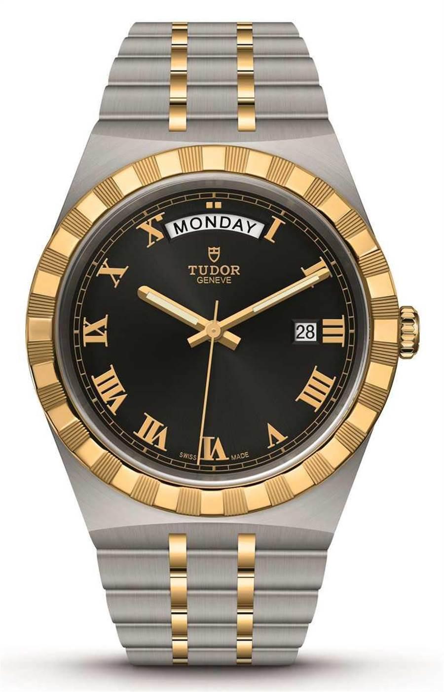 TUDOR「Royal皇家系列」腕表,316L不锈钢表壳,黄金钢表带,41mm╱107,000元。(图╱TUDOR提供)