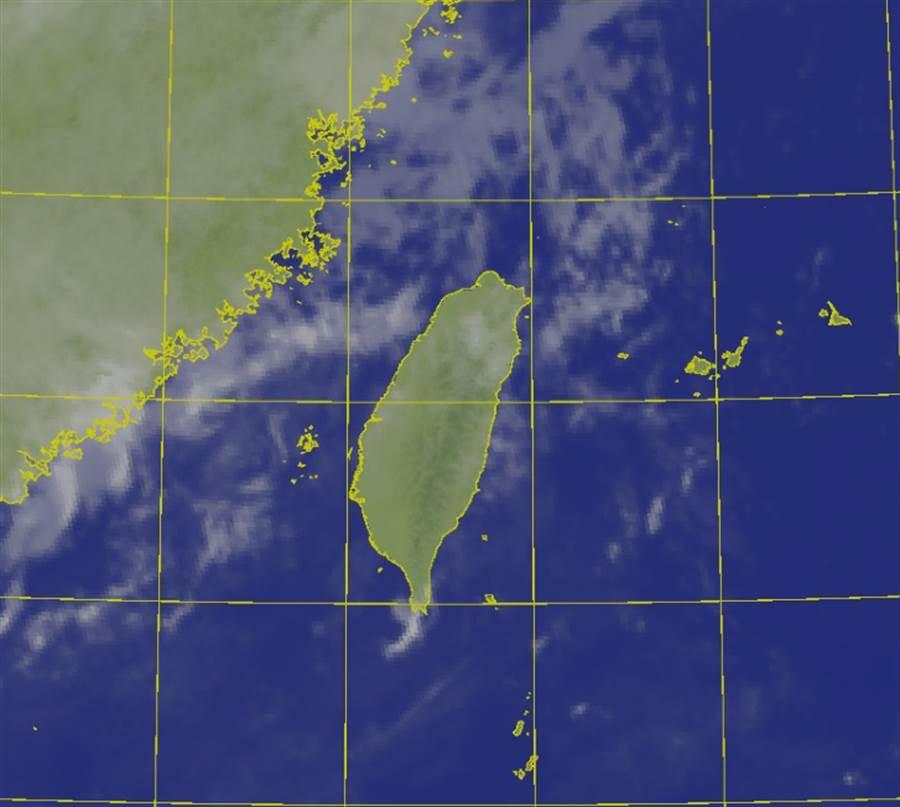 高壓勢力增強,台灣今起3天天氣穩定,午後有雨。(中央氣象局提供)