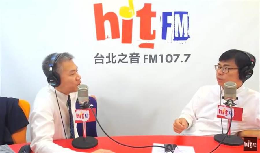高雄巿長補選候選人陳其邁6日上電台受訪。(曹明正翻攝)