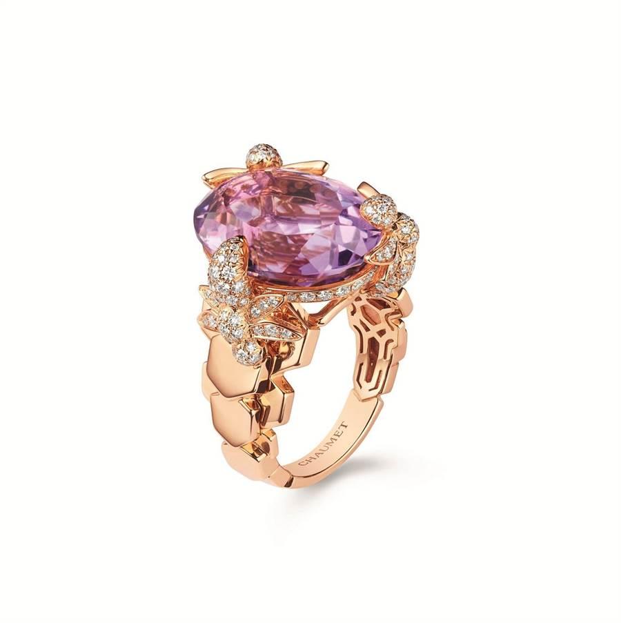 CHAUMET「Bee My Love」玫瑰金紫水晶雞尾酒戒, 54萬6000元。(CHAUMET提供)