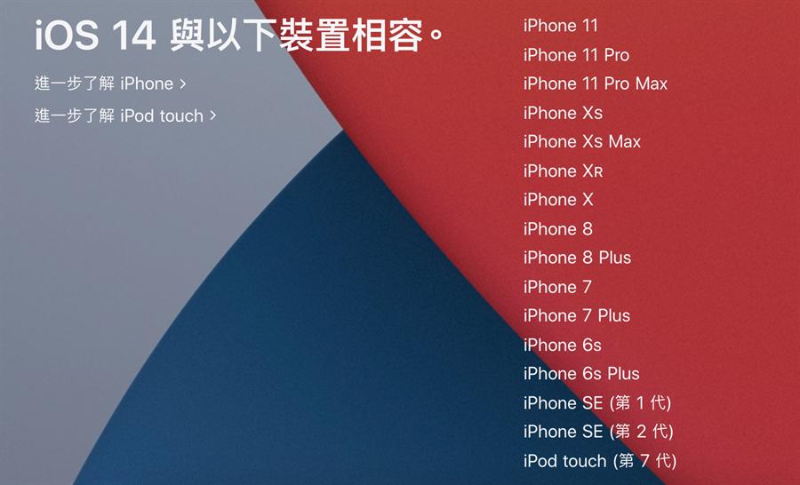 iOS 14可支援的機種清單。(摘自蘋果官網)