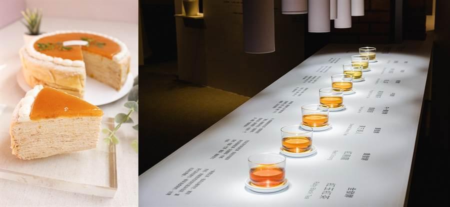 左:「法朋烘焙甜點坊」推出多款茶甜點,呈現台灣茶香氣融合西式甜點的多層次口感,其中「茉莉花茶22 階」甜而不膩,口感與香氣都非常迷人。( 圖/法朋烘焙甜點坊)  右:「COFE 喫茶咖啡」今年夏天以包種茶為主調推出季節限定調飲「仲夏夜盛開的花」。梅子與芭樂果香結合檸檬風味的氣泡感,尾韻帶有自家熬煮的茉莉糖漿風味,搭配淡雅的包種茶香,甜而不膩,非常適合炎夏解渴消暑。