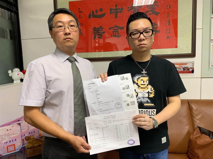 市議員張彥彤(右)控告盛唐中醫殺人未遂。(林欣儀攝)