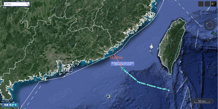 華春瑩在推特發文批評美軍連續對廣東抵近偵察純粹是軍事挑釁。圖為南海戰略態勢感知計畫公布的8月5日夜間美軍機E-8C抵近廣東進行偵察。(圖/SCS Probing Iniciative)