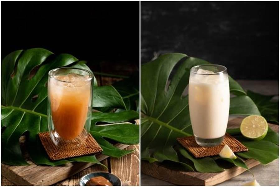 (左起)「飛機河粉」羅望子汁、檸檬煉奶。(豆府餐飲集團提供)