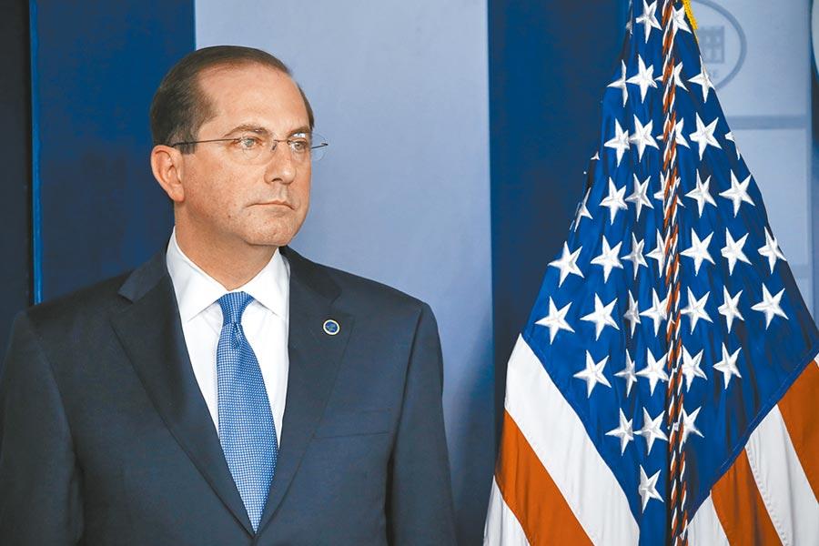 美國在台協會(AIT)昨強調,衛生及公共服務部長阿札爾(見圖)等人訪台,為美國政策一環。(美聯社)