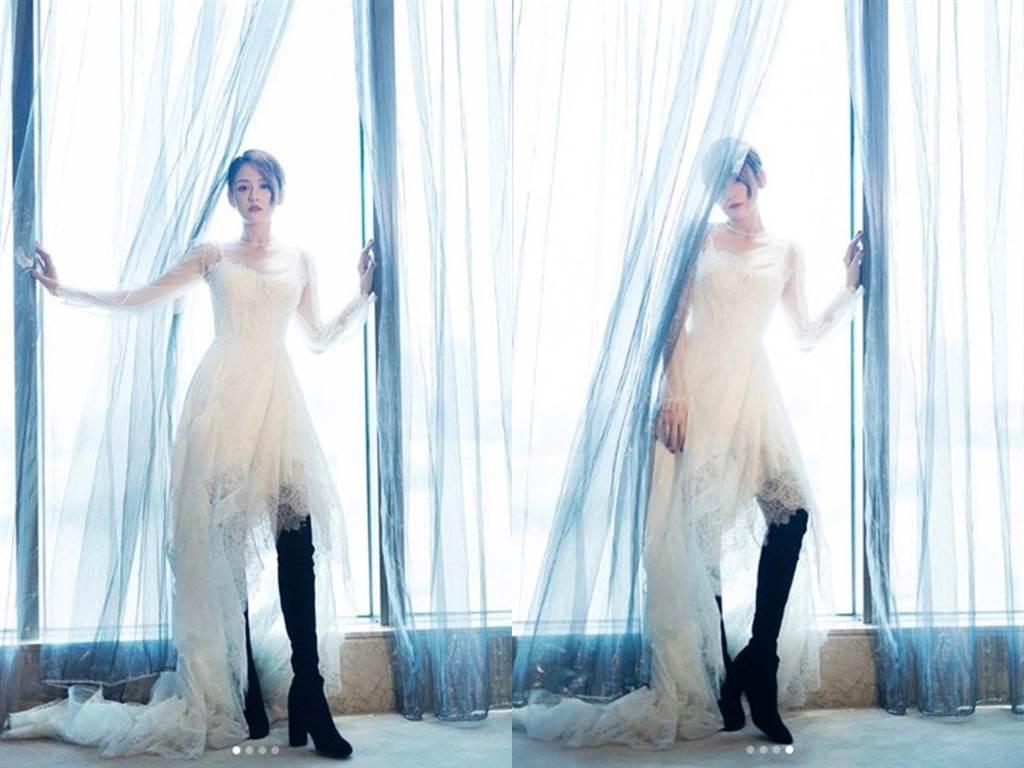 陳喬恩婚紗裡搭膝上靴,意外衝撞出不一樣的美感。(圖/IG@iam_joechen)