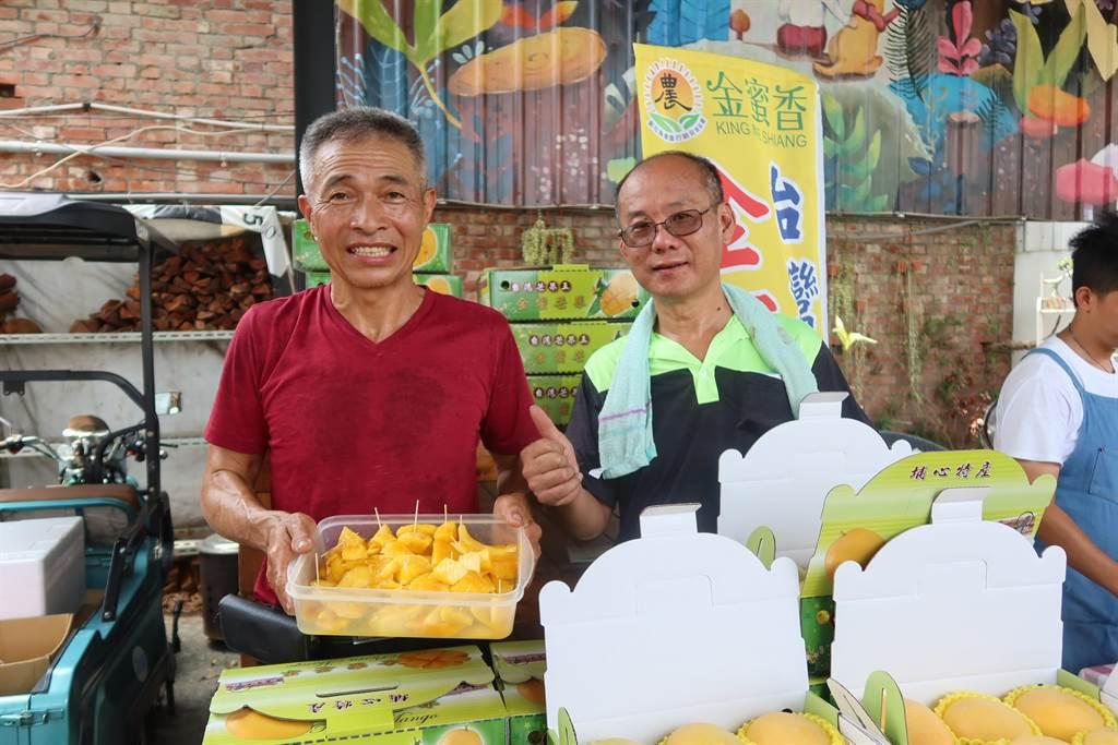埔心鄉最具特色的金蜜芒果,風味獨特口感Q彈,今年已近產季尾聲。農民保留最後一批優質農產迎接北部南下的貴客。(謝瓊雲攝)