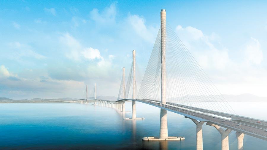 6月6日,黃茅海跨海通道項目開工,粵港澳大灣區再添新跨海通道。圖為設計效果圖。(中新社)
