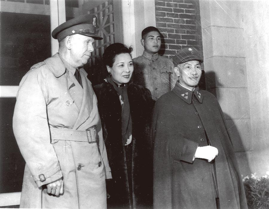 1945年,馬歇爾(左起)蔣宋美齡、蔣中正。(本報系資料照片)