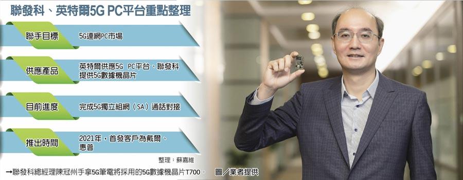 聯發科、英特爾5GPC平台重點整理→聯發科總經理陳冠州手拿5G筆電將採用的5G數據機晶片T700。圖/業者提供