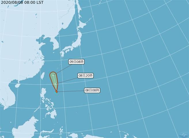 氣象局公布的路徑圖來看,成颱後路徑將偏北,往琉球群島一帶前進。(圖擷自氣象局)