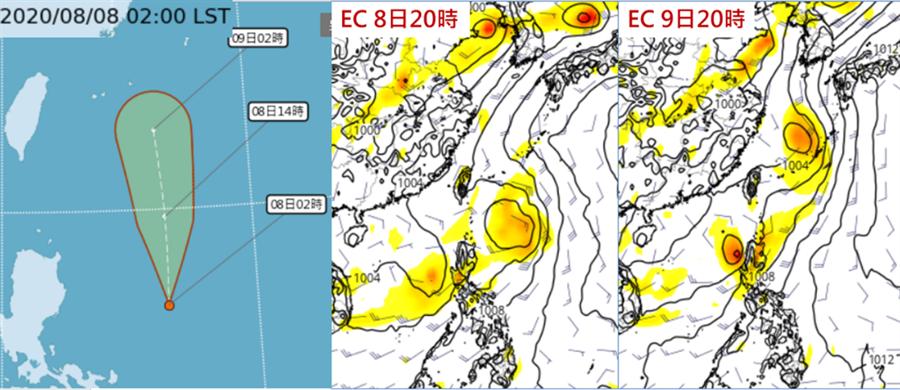 8日2時中央氣象局「路徑潛勢預測圖」(左圖)及7日20時歐洲中期預報中心(ECMWF)模式模擬顯示,今(8)日「熱帶低壓」在菲律賓東方發展,將沿菲律賓東方海面北上(中圖)。明(9)日通過台灣東側海面(右圖)。(圖擷自CWB&tropical tidbits/吳德榮專欄)
