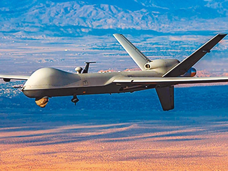 美國派衛生部長阿札爾訪台,也將售我無人機,馬英九基金會表示,目前可能是數十年來台灣最危險的時刻。圖為美國海上衛士無人機「掠奪者B」。(摘自網路)