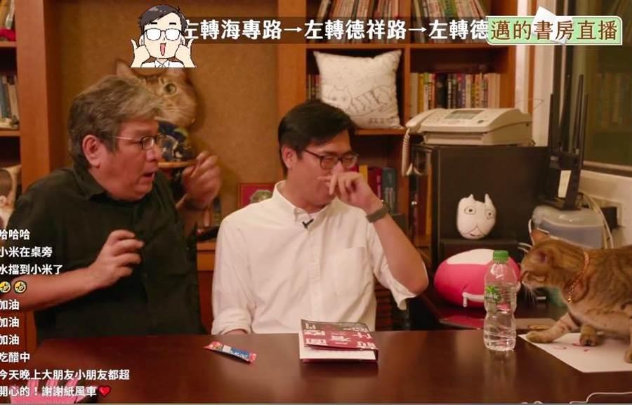 陳其邁的愛貓小米頻頻張口想咬李永豐,嚇得李永豐縮手。(取自陳其邁臉書/袁庭堯高雄傳真)