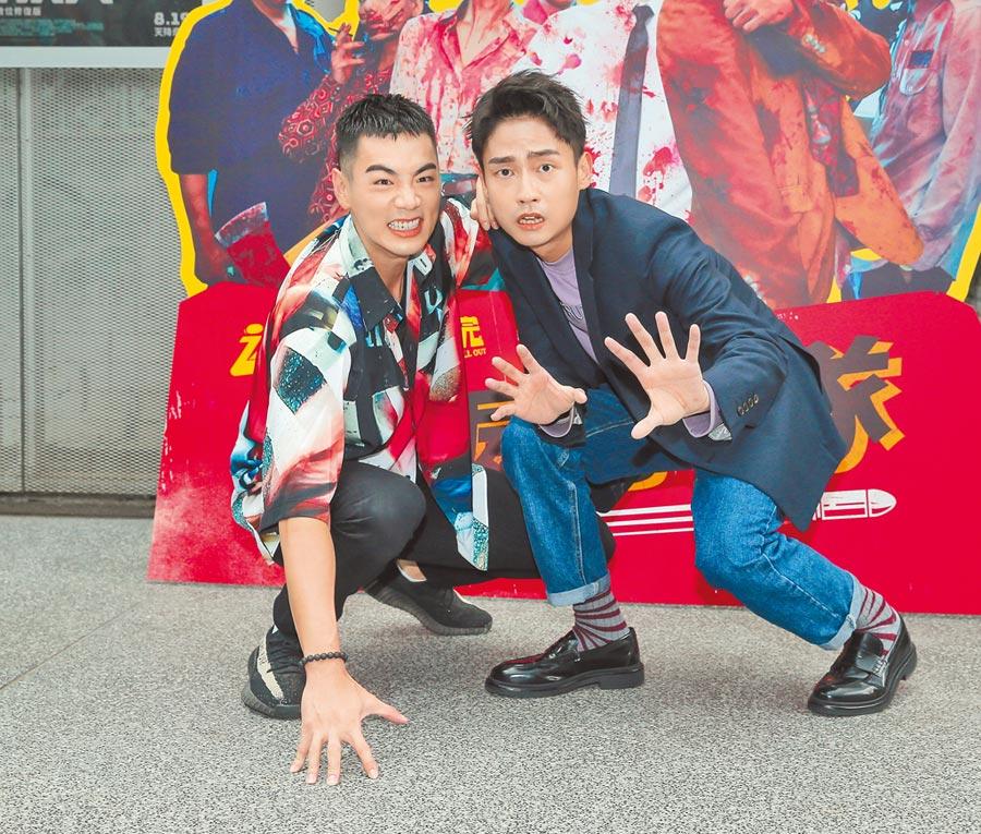 禾浩辰(左)及大鶴昨第一次參加「彈幕」特映會。(盧禕祺攝)