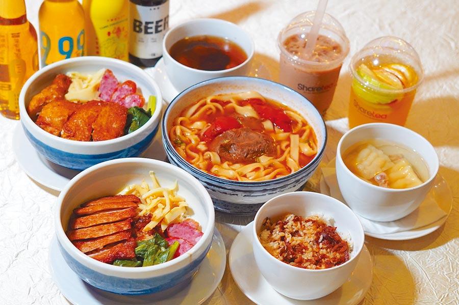 天下三絕、鬍鬚張、臺虎啤酒及歇腳亭等台灣知名餐飲品牌的美食料理也登上探索夢號。(何書青攝)