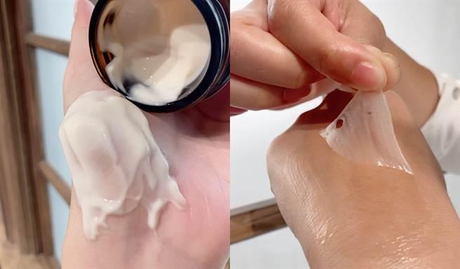 夜間深層滋養面膜塗抹後會形成乾燥的薄膜,停留在肌膚上越久效果越好,建議可敷過夜再撕除。(圖/邱映慈攝影)