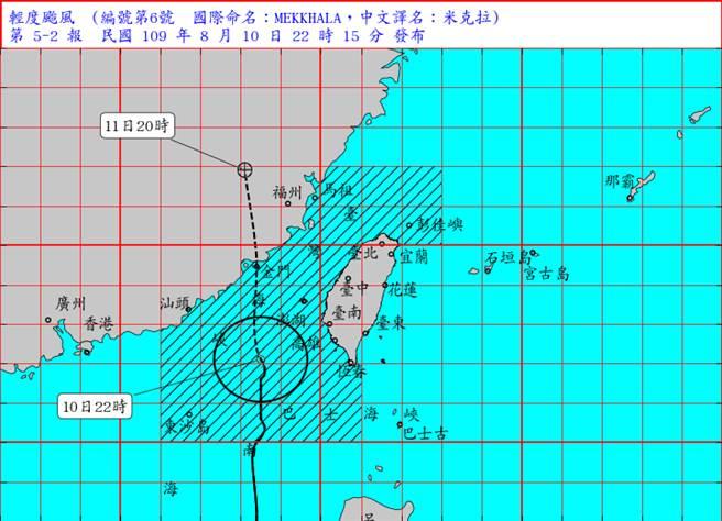 氣象局指出,米克拉過去3小時強度稍增強且暴風圈亦有所擴大,目前暴風圈即將進入澎湖地區,將對澎湖及金門將構成威脅。(氣象局提供)
