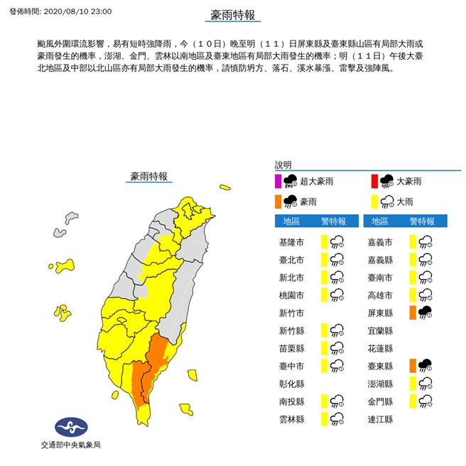 颱風外圍環流影響,氣象局對17縣市發布豪、大雨特報。(氣象局)