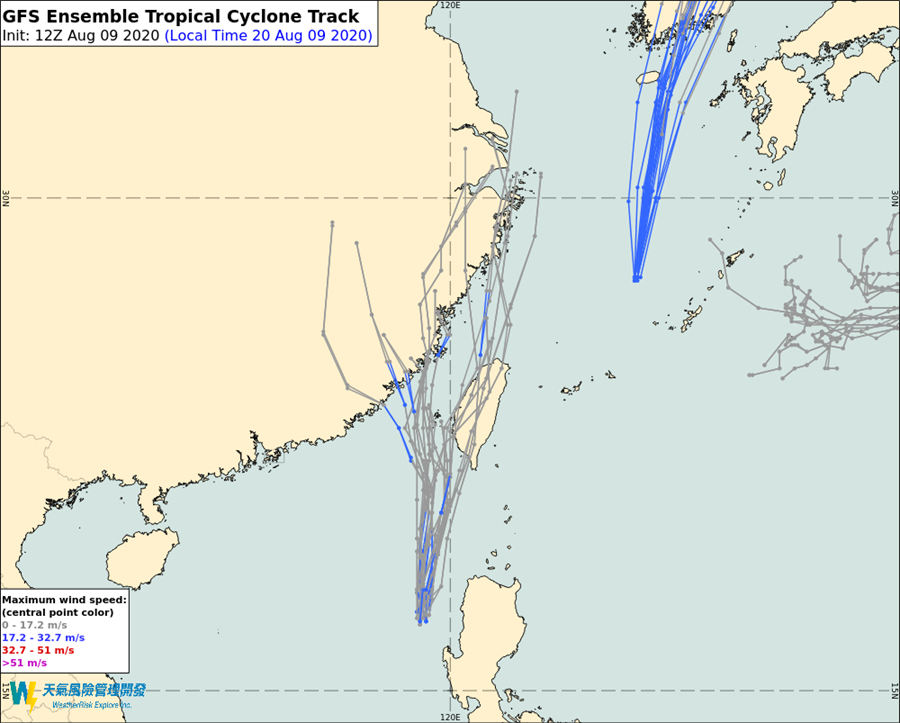 美國(GFS)模式的模擬路徑顯示可能直接侵台,從台灣西半部登陸的機會。(翻攝自 彭啟明臉書)