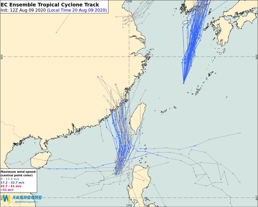 歐洲(EC)模式的模擬路經則偏向往台灣海峽中線然後偏西往福建方向移動,但也有與台灣中南部地區擦身而過的機率。(翻攝自 彭啟明臉書)