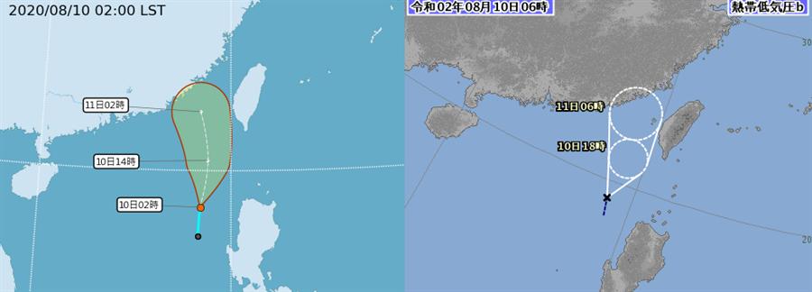 台灣氣象局與日本氣象廳的模擬路徑偏向往福建移動。(翻攝自中央氣象局 日本氣象廳)