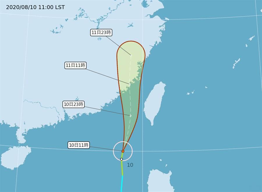 米克拉筆直沿著海峽北上,今晚到明天最接近台灣陸地。(中央氣象局提供)