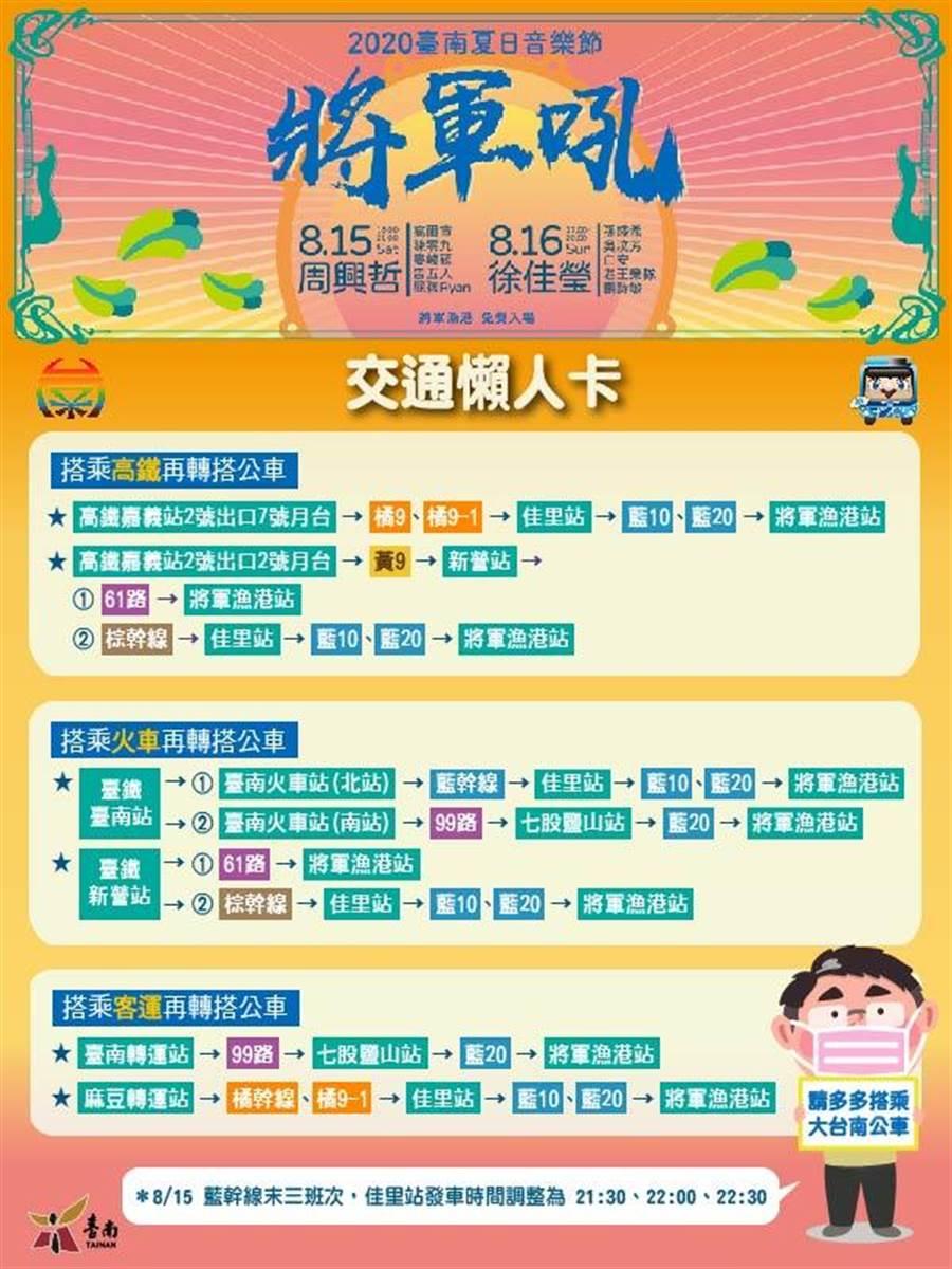 台南市政府觀光旅遊局建議民眾可搭乘公車前往。(台南市政府觀光旅遊局提供/莊曜聰台南傳真)
