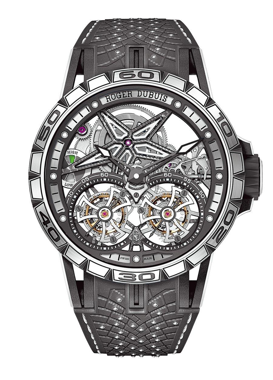 羅杰杜彼與倍耐力輪胎聯名打造Excalibur Pirelli Ice Zero 2鏤空雙飛行陀飛輪腕表,1003萬元。(Roger Dubuis提供)
