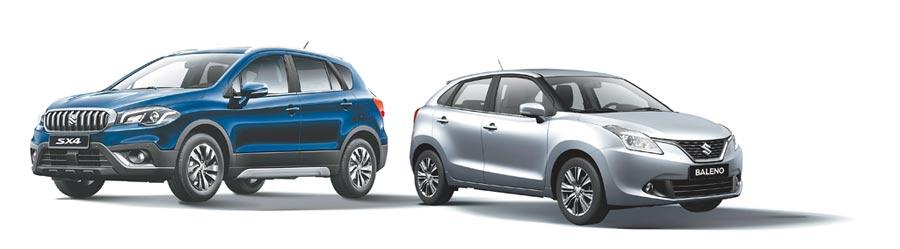 SUZUKI全車系來店試乘送專屬紀念品,SX4(左)原價86.8萬元,特惠價74.9萬元起;BALENO原價70.8萬元,優惠價59.9萬元起。(TAIWAN SUZUKI提供)