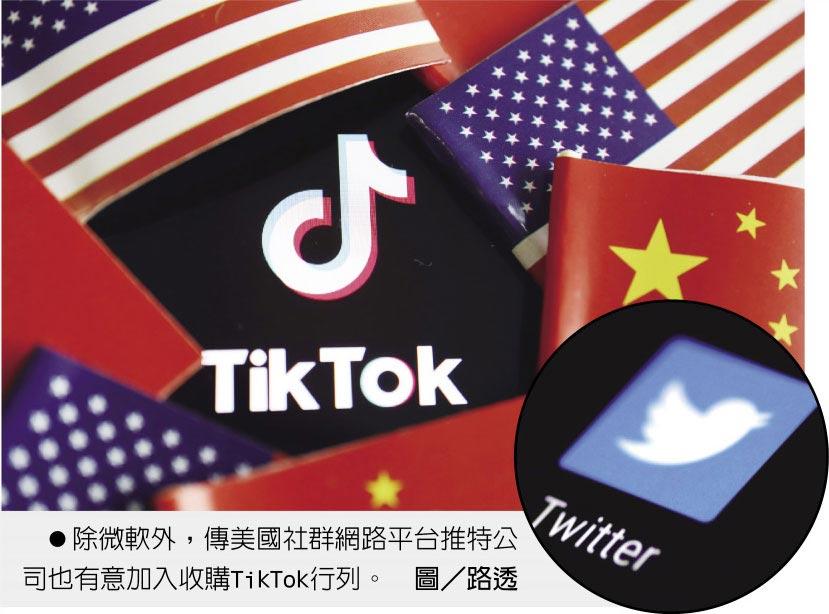除微軟外,傳美國社群網路平台推特公司也有意加入收購TikTok行列。圖/路透