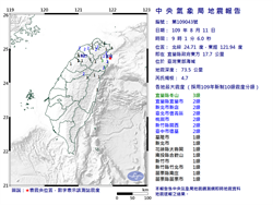 有感地震 宜蘭近海芮氏規模4.7 最大震度3級