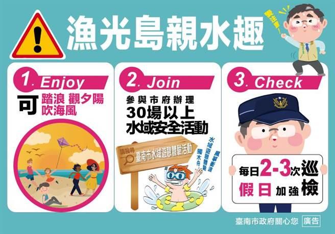 民眾可於台南漁光島踏浪、玩沙。(教育局提供/李宜杰台南傳真)