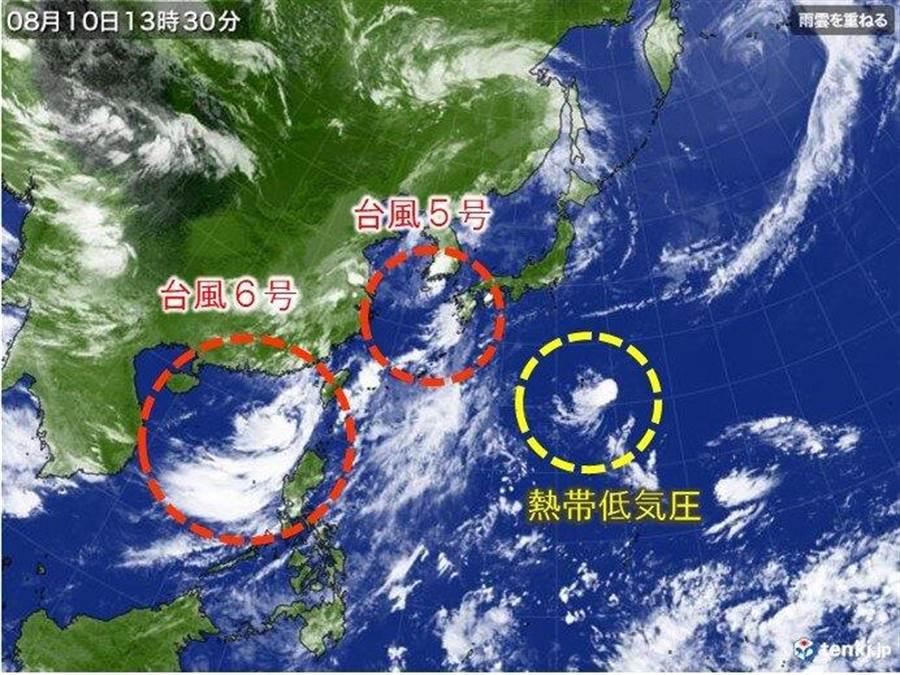 在南日本海的熱低壓11日可能生成第7號颱風無花果,預估將往西行進。(圖擷自日本氣象協會)