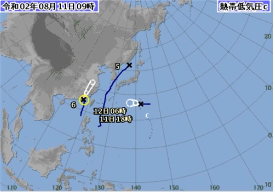日本氣象廳今早發布熱低壓的中心位置及預估路徑往西行進。(圖擷自氣象廳)
