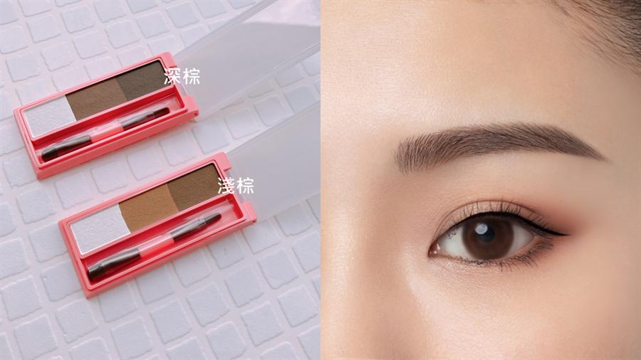 Za「3D立體持色眉彩盤」妝效圖。(圖/邱映慈攝影、品牌提供)