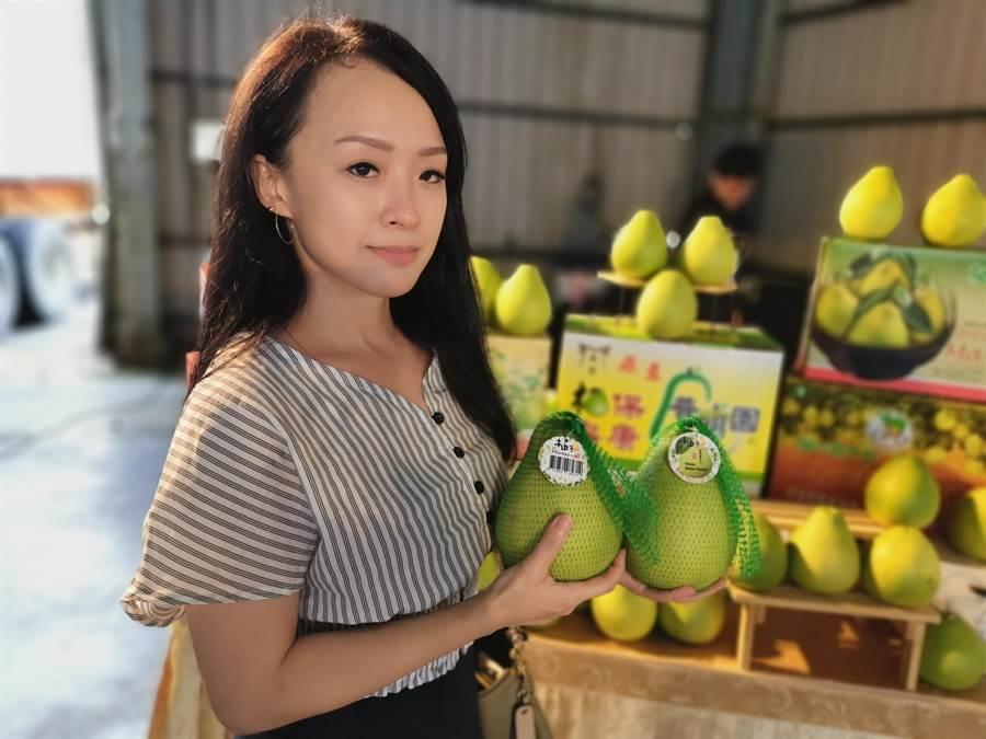台南今年首櫃外銷加拿大多倫多文旦,11日在麻豆農會集貨場裝箱啟航。(劉秀芬攝)