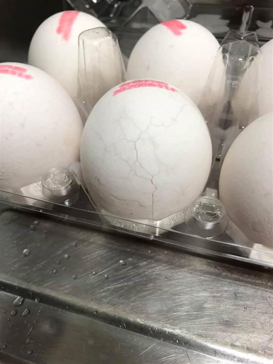 網友打開這和雞蛋發現有多處裂痕。(摘自臉書社團《我愛全聯-好物老實説》)