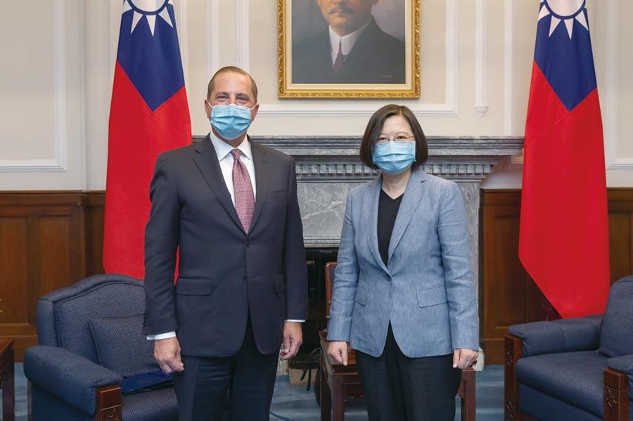 总统蔡英文接见美国卫生部长阿札尔。图/总统府提供