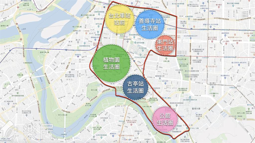 中正區區域劃分
