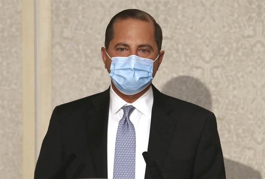 美國衛生部長阿札爾(Alex Azar II)11日在外交部發表談話的神情。(圖/美聯社)