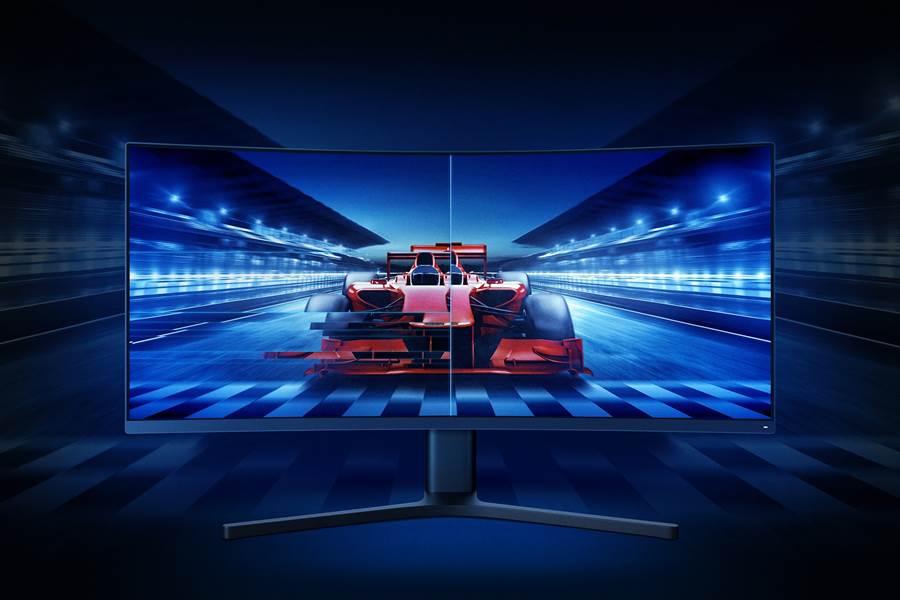 小米歡慶10週年限定新品「小米34型曲面螢幕」。(小米提供/黃慧雯台北傳真)