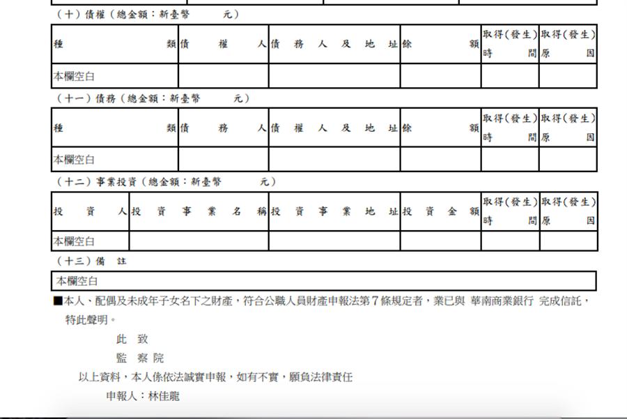林佳龍最新財產申報中債權債務欄空白(監院網頁擷圖)