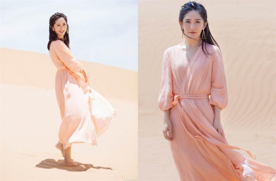 謝娜在節目《妻子的浪漫旅行4》中,穿上紗裙飄仙氣。(圖/摘自微博@謝娜)