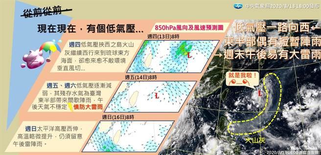 氣象局表示,目前在琉球南方海面有一低氣壓,朝西往台灣附近靠近,明(14)日受低壓影響天氣較不穩定。(摘自氣象局:報天氣)