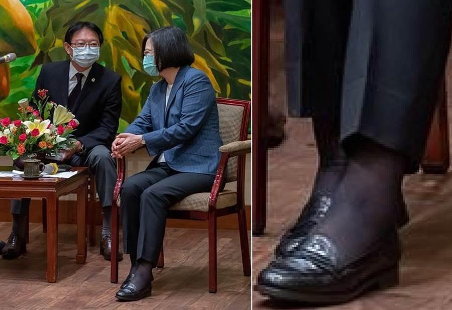 蔡英文接見日本弔唁團,網傳脫鞋照,其實是錯位搭配揣測文字誤導讀者。(圖/摘自蔡英文臉書)