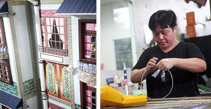 楊憲璋說,「我堅信唯有靠手工去製作紙紮,另一個世界的往生者,才能感受到親人的心意。」(攝影/曾信耀)